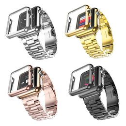 Wholesale Watch Straps Covers - Wholesale-3 Points Stainless Steel Strap Gold Plated Protective Case Cover Watch Bands for iWatch Watchband