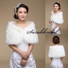 Wholesale Bolero Faux Wedding - 2015 New White Pearl Bridal Wrap Shawl Coat Jackets Boleros Shrugs Regular Faux Fur Stole Capes For Wedding Party 17004 Free Shipping