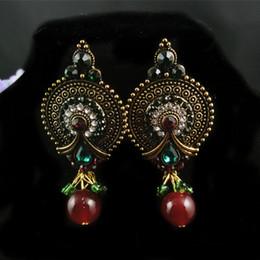Décorations de mariage inde en Ligne-2016NEW! (12pieces / lot) gros india style vintage en alliage strass dangle boucle d'oreille pour la décoration de mariage, bonne qualité boucle d'oreille de lustre