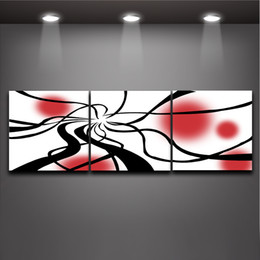 Wholesale Black Circle Picture - 3 Piece Art Set Modern Abstract Black Line Red Circle Picture Oil Painting Canvas Prints Wall Decor for Home Office Cafe