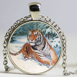 Wholesale Pictures Punks - Tiger necklace punk animal pendant winter jewelry big cat picture necklace glass cabochon gem pendant silver chian choker gifts