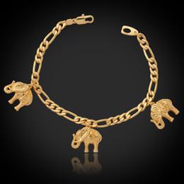 Armbänder schön charmant online-Neue Artikel Cute Charms Armband Armreifen 18K Reales Gold überzogene reizende Elefanten Charms Modeschmuck für Frauen YH5167
