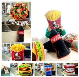Wholesale Food Cushion - Simulated food stuffed dolls toys French Fries Cola Icecream Hamburger Pizza food CUSHION PILLOWS Cute Funny Festivals gifts decoration A08