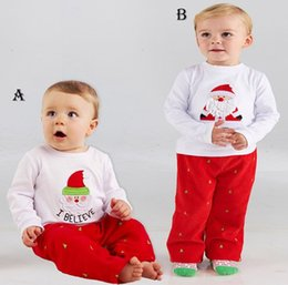 Wholesale Boys Christmas Outfit 2t - Toddler baby christmas outfits girls boy spring autumn clothing sets children Santa t-shirt + pants kid long sleeve clothes infant wholesale