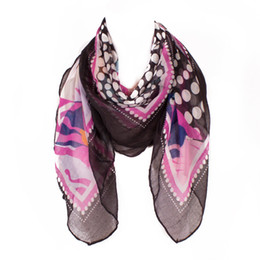 Wholesale Womens Square Scarf - New Fashion Womens Scarves Sale Flower Dot Printing Square Scarf New Design All-match Famous Brand Women Scarfs Factory Sale 100*100cm