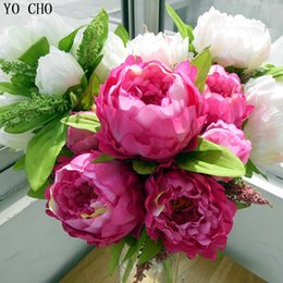 Wholesale Planting Peony Roses - Yo Cho Autumn Decor Home Wedding Decoration Mariage Rose Diy 7 Peony Flower Heads Bouquet Fake Peony Artificial Flowers Plants