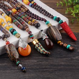 Wholesale wood necklaces for men - Wholesale- WEIYU Nepal Buddhist Mala Wood Beads Necklaces Natural Stone Pendant Necklace Ethnic Horn Long Statement Necklace For Women Men