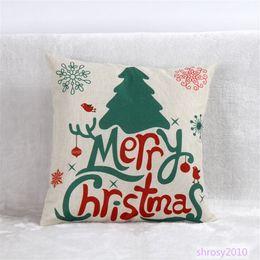 Wholesale Hot Pink Pillow Cases - Wholesale-Hot Christmas Style Design Cotton Linen Throw Pillow Case Square Decorative Cushions BYA0111