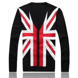 Wholesale Cardigans For Men Sale - Wholesale-Hot Sale Mens Autumn Winter Clothing British Flag Print The Union Jack V-Neck Black Cardigan For Lover's Gift