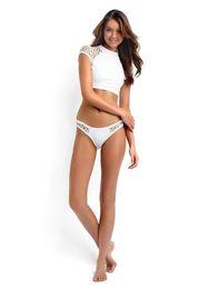 Wholesale White Bikini Cut Top - Mesh Crop Top Cut Out High Neck Brazilian Bikinis For Women, Sexy Seafolly Hollow Out Padded Beachwear Sport Biquini Swimwear