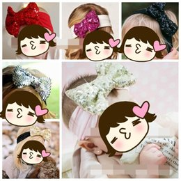 Wholesale Band Christmas Ornaments - Children Hair Band 2015 New European American Big Sequined Bowknot Hair Ornaments Christmas Baby Gifts 13 Colors 1065