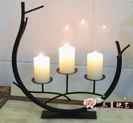 Wholesale Plastic Candlesticks - Wholesale-FBH031819 Classical iron wrought iron candlestick Creative decoration wedding candle holder