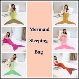 Wholesale new arrivals blankets - 6 Colors 195*95cm New Arrival Mermaid Blankets Crochet Mermaid Tail Blanket Adult Sleeping Yarn Knitted Mermaid Blankets CCA8366 30pcs