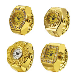 Wholesale Ring Quartz - Ring watches Finger Ring Watch gold plated watches flower oval square round watches Christmas gift 4 styles men watches