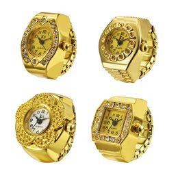 Anel relógios Anel de Dedo Assista banhado a ouro relógios flor oval praça rodada relógios de presente de Natal 4 estilos homens relógios de Fornecedores de cosplay rainha