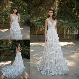 Wholesale Sweetheart Neckline Lace Dress - 2017 Berta Bridal Lace Wedding Dresses Spaghetti Sweetheart Neckline Backless Applique Bridal Gowns Cathedral Train Sleeveless Wedding Gown