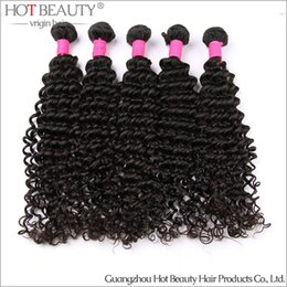 Wholesale 32 Hair Shedding - 5 Pcs lot Deep Wave Brazilian Virgin Curly Hair Bundles,No shed no tangel Dyeable Beachable Hair Weaving