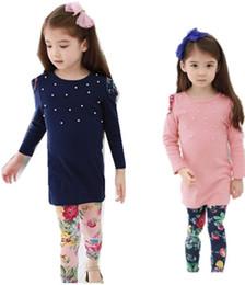 Wholesale Wool Leggings Girls - 2016 New fashion Girls clothes Baby Girl Clothing Set Children Flower Suit 2PCS Kids Twinset Top T Shirt +Plaid Pants Leggings Fall suit
