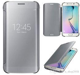 Wholesale View Sales - For note 5 S6 edge plus smart Mirror cases Clear view cover PC Transparent hot sale