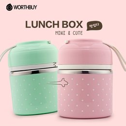 Wholesale Thermal Food Lunch Box - Portable Cute Mini Japanese Bento Box Leak-Proof Stainless Steel Thermal Lunch Boxs Kids Picnic Food Storage Container N