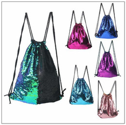 Wholesale Glitter Clothes - 8 Colors Mermaid Sequin Backpack Sequins Drawstring Bags Reversible Paillette Outdoor Backpack Glitter Sports Shoulder Bags CCA7890 100pcs