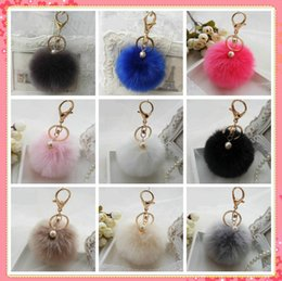 Wholesale Wholesale Pearl Keychain - Cute Faux Rabbit fur ball plush key chain for car key ring Bag Pendant car keychain