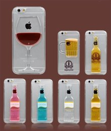 Wholesale Iphone 4s Cover 3d Crystal - Red Wine Glass Beer Cocktail Moving Liquid 3D Hard PC crystal Clear Case Cover For iPhone 4 4S 5 5S 6 6 Plus Case