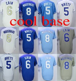 Wholesale Cool Cities - kansas city 6 Lorenzo Cain 8 Mike Moustakas 5 George Brett cool base baseball jersey stitched s-4xl