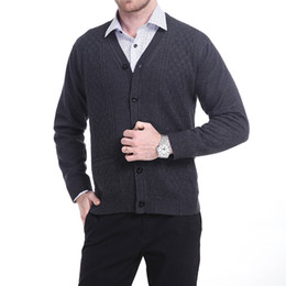 Wholesale Men Coats Checked - Wholesale-Mens Winter Warm Linner Long Sleeve V Neck Knitted Sweater Checks Patterns Cashmere Wool Cardigan Coat Jacket Button Down Tops
