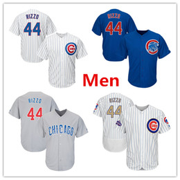 Wholesale Mens Shorts Quick Dry - Mens Cubs 44 Anthony Rizzo Baseball Jersey White Blue Gray