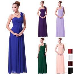 Wholesale One Shoulder Flower Dresses - 2015 Purple Pink Blue Long Sexy Bridesmaid Dresses Flowers A Line Floor Length One Shoulder Chiffon Padded 2015