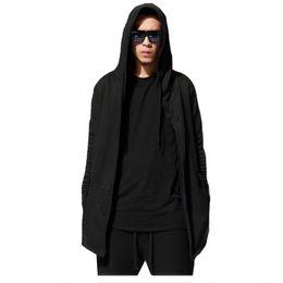 Wholesale Male Cape - Wholesale-Male Street original designs Hip hop sweatshirt autumn long hooded wizard's cloak cape hoodies men cardigan black Hoody M-3XL