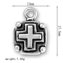 Wholesale Square Cross Charms - factory price 50pcs a lot antique silver plated religious double sided square cross charms for cheerleading gifts