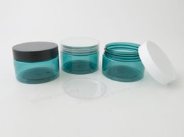 Wholesale Clear Plastic Pet Containers - 20 x 120g Empty Blue Plastic Cream Jar With White Black Clear Cap and PE Seal 4oz PET Cosmetic Container