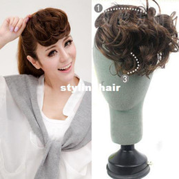Wholesale Hair Bangs Pieces - Wholesale-Dropshipping Free* Women's Fringe Bangs Piece Wave Curly Clip In On Front Inclined Hair Extension LX0037