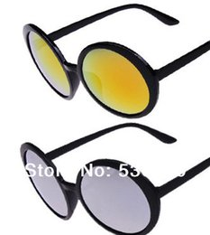 Wholesale Sunglasses Retro Large - FG1509 Brand Men 2014 Hot Sale Unisex Style Large Polarized Sun Glasses Super Trendy Retro Round Frame Sunglasses Mirror Gold and Black