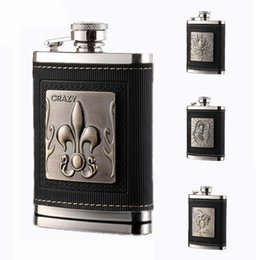 Wholesale Leather Wine Flask - 4oz Leather Coated Hip Flasks 304 Stainless Steel Wine Glasses Kidney Flask Fashion Water Bottles for Party