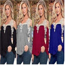 Wholesale Crochet T Shirt Color - Sexy Off Shoulder T shirt Women V Neck Lace Crochet T shirt Plus Size Tee Shirt Femme Casual Tops Long Sleeve T shirt For Women