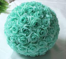 Wholesale 25cm kissing ball flowers - 10inch 25cm Hanging Decorative Flower Ball Centerpieces Silk Rose Wedding Kissing Balls Pomanders Mint Wedding Decoration