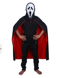 Wholesale Black Halloween Capes - Hot Sale Cosplay Capes Black Red Halloween Costume Theater Prop Death Hoody Cloak Devil Long Tippet Cape