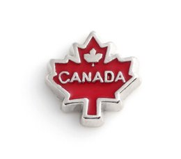 Wholesale Maple Memories - 20PCS lot Enamel Canada Maple Leaf DIY Alloy Floating Charms Fit For Magnetic Memory Glass Living Locket Fashion Jewelrys