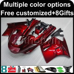 Wholesale 1992 Zx11 Black - 23colors+8Gifts RED motorcycle cowl for Kawasaki ZX11R ZZR1100 90-92 90 91 92 ZZR1100 1990 1991 1992 ABS Plastic Fairing