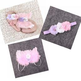 Wholesale Fairy Babies - Baby Angel Wing + Chiffon flower headband Photography Props Set newborn Pretty Angel Fairy Pink feathers Wing Costume Photo Prop YM6101