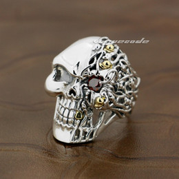 Wholesale Mens Sterling Silver Biker Rings - 925 Sterling Silver Red CZ Stone Eye Skull Mens Biker Ring 8V006 US Size 8 to 14 Free Shipping