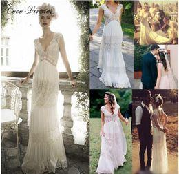 Wholesale Column Sheath Lace Wedding Dress - C.V High Waist V Neck Bohemian Sheath Wedding Dress Short Sleeve Floor Length Charming Country Wedding Dresses Beach Bridal Dress W0265