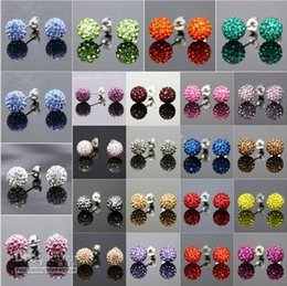 Wholesale Swarovski Rhinestone Silver Balls - Fashion Sparkle 10mm Round Shape Swarovski Disco Crystal Ball Stud Rhinestone Earrings for Women Wedding Party Free Shipping
