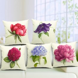 Wholesale Painting Elegant - Pastoral Rural Elegant Floral Flower Rose Cushion Covers Hand Painting Flowers Pillow Cover Decorative Sofa Seat Linen Cotton Pillow Case