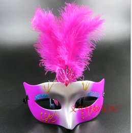 Wholesale Colorful Carnival Masks - Feather Masquerade Ball Masks Colorful Halloween performance Venetian Carnival Mask plastic Birthday party toys for fun Mix 50pcs