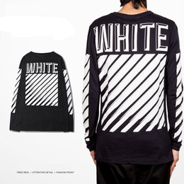 Wholesale Exo Style - Wholesale Off White Men T-shirt Streetwear Hip Hop Stripe Style EXO GD Mens Full Sleeve O-neck Cotton Printed T Shirts