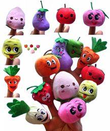 Wholesale Toy Baby Fruit - 500PCS LOT Soft Fruit & Veggie finger puppets set Finger Puppet Dolls Toys Story-telling Props Tools Toy Model Babies Kids Children Toys
